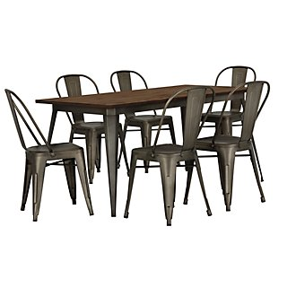 Huntley Dark Tone Rectangular Table & 4 Metal Chairs