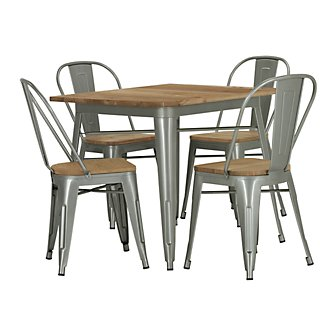 Huntley Light Tone Square Table & 4 Wood Chairs