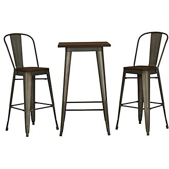 Huntley Dark Tone Pub Table & 2 Wood Barstools
