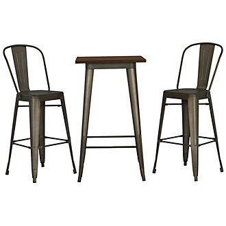 Huntley Dark Tone Pub Table & 2 Metal Barstools