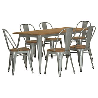 Huntley Light Tone Rectangular Table & 4 Wood Chairs