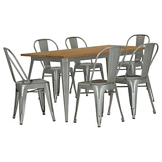 Huntley Light Tone Rectangular Table & 4 Metal Chairs