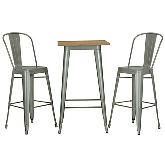 Huntley Light Tone Pub Table & 2 Metal Barstools