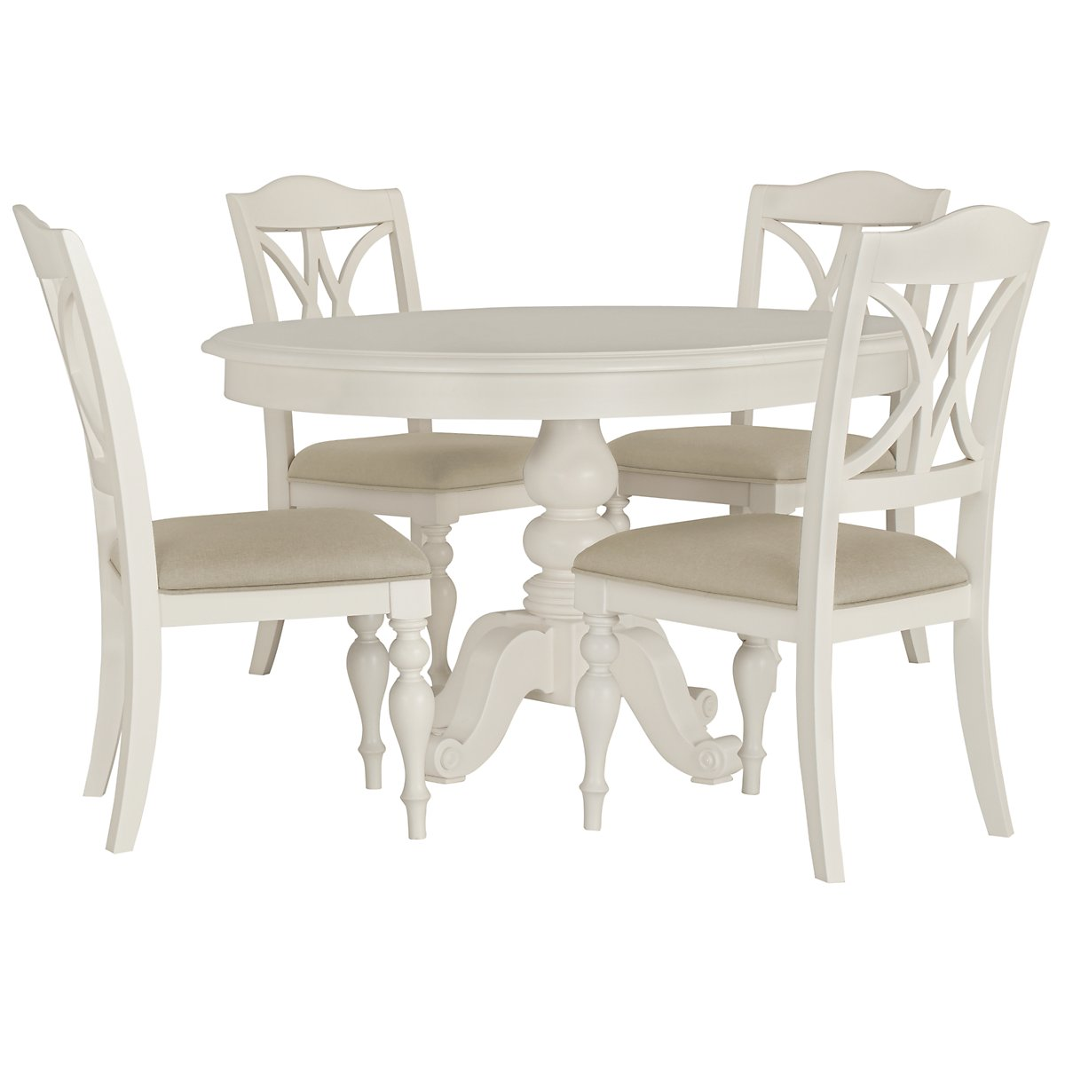 City Furniture Quinn White Round Table Amp 4 Wood Chairs