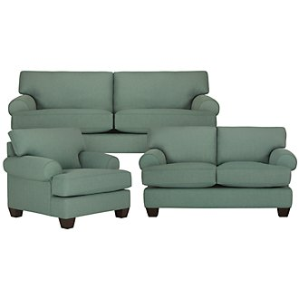 Quinn Teal Fabric Living Room