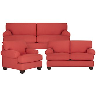Quinn Coral Fabric Living Room