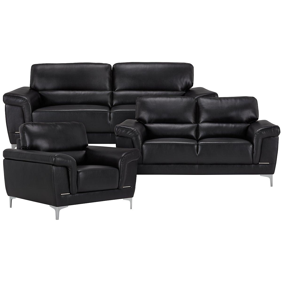 City Furniture Enzo Black Microfiber Loveseat