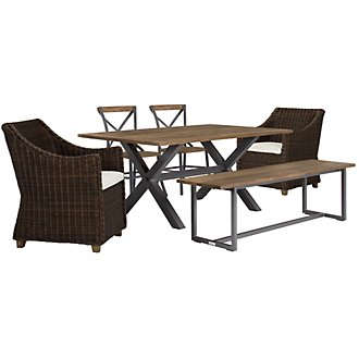 "Canyon Dark Brown 72"" Rectangular Table & Mixed Chairs"