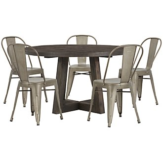 Orson Dark Tone Round Table & 4 Metal Chairs