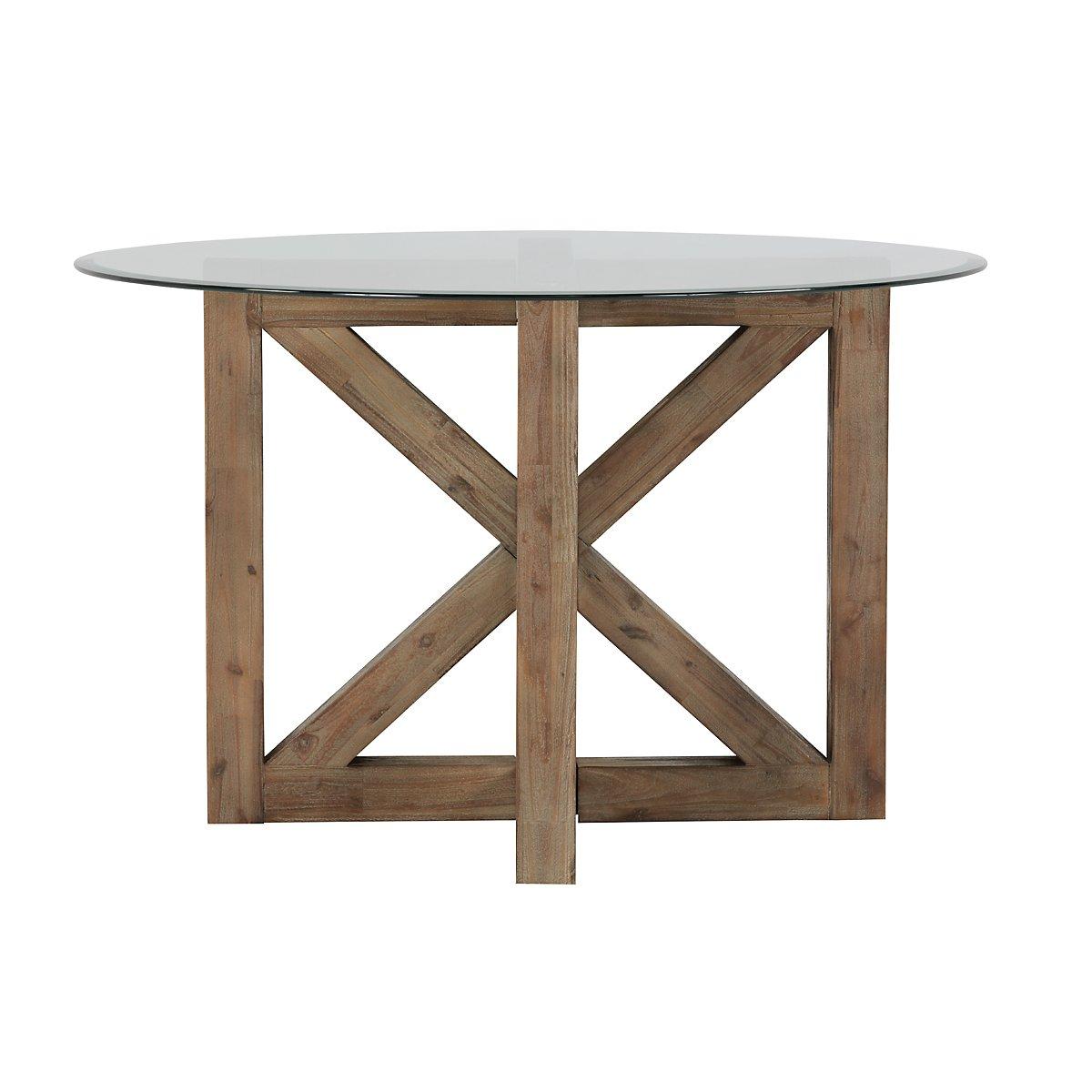 City furniture hampton light tone glass round table for Table top jocel jf 85