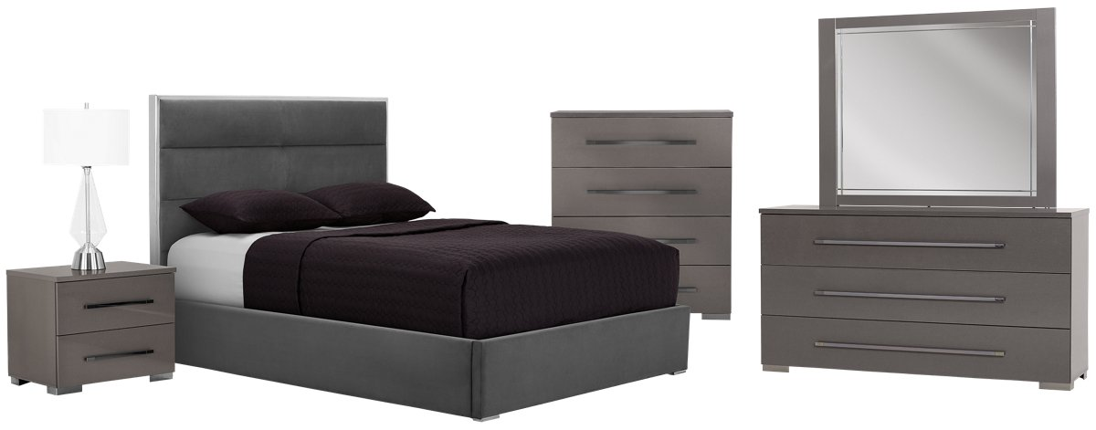 city furniture: dimora gray metal platform bed