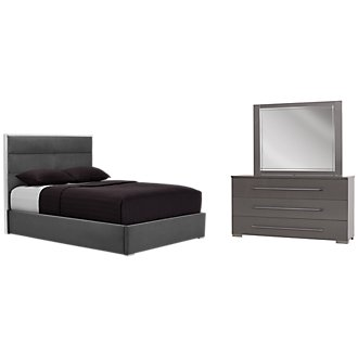Dimora Gray Metal Platform Bedroom