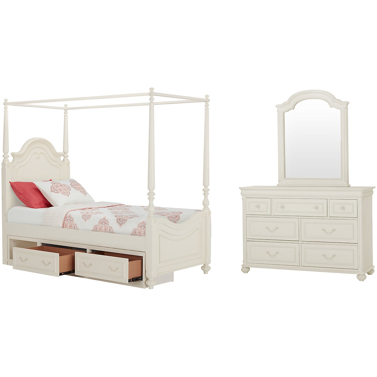 City Furniture Charlotte Ivory Canopy Storage Bedroom