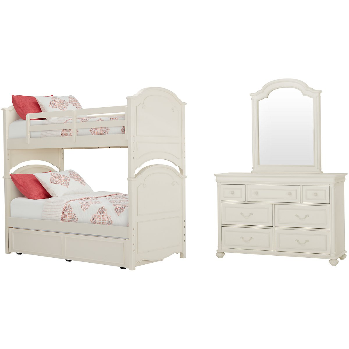 city furniture charlotte ivory bunk bed trundle bedroom