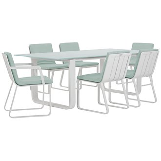 "Ibiza Teal 88"" Rectangular Table & 4 Cushioned Chairs"