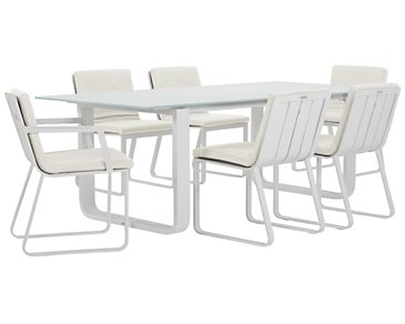 "Ibiza White 88"" Rectangular Table & 4 Cushioned Chairs"