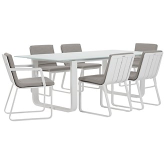 "Ibiza Gray 88"" Rectangular Table & 4 Cushioned Chairs"