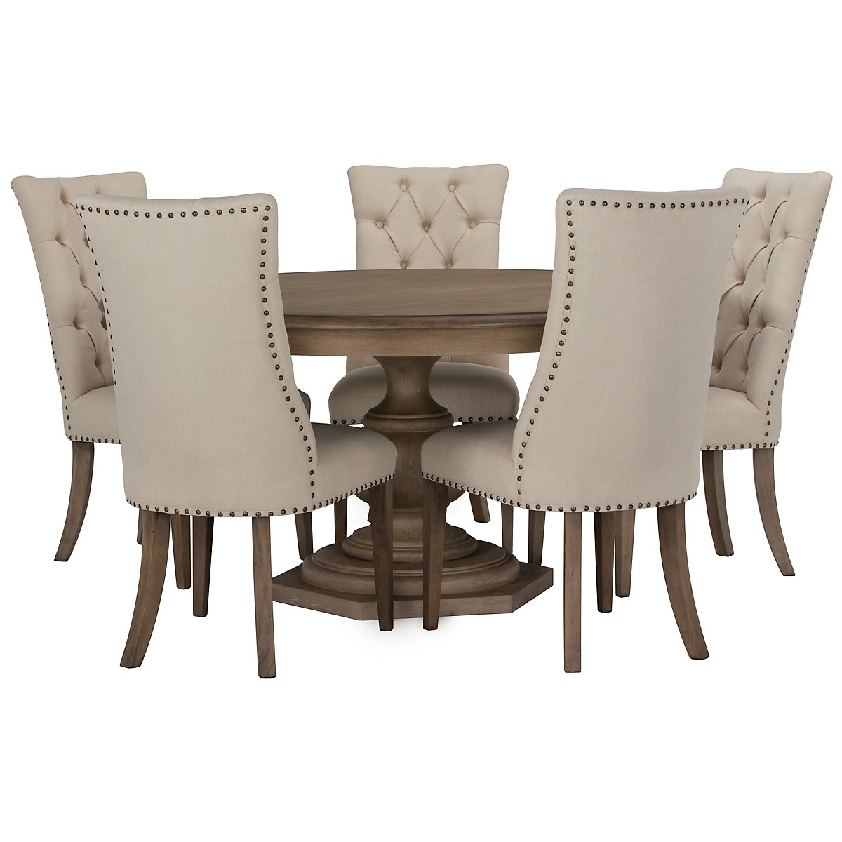 City furniture haddie light tone round table 4 upholstered chairs Round dining table set