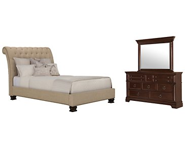 Emerson Beige Upholstered Platform Bedroom