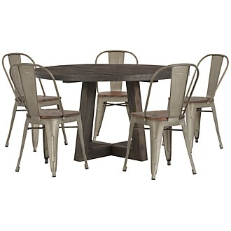 Orson Dark Tone Round Table & 4 Wood Chairs