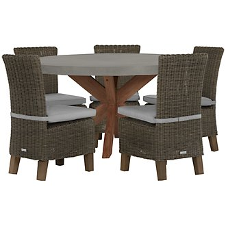 Canyon Concrete Gray Round Table & 4 Chairs
