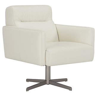 Dario White Leather Swivel Accent Chair