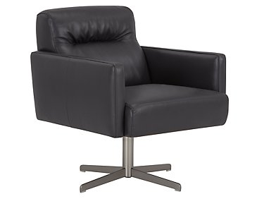 Dario Dark Gray Leather Swivel Accent Chair