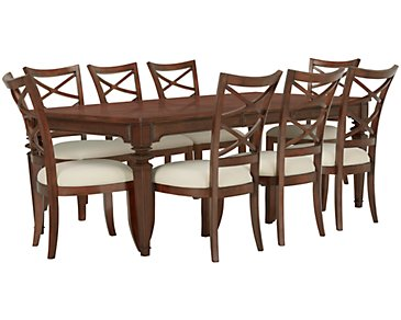 Antigua Mid Tone Rectangular Table & 4 Wood Chairs