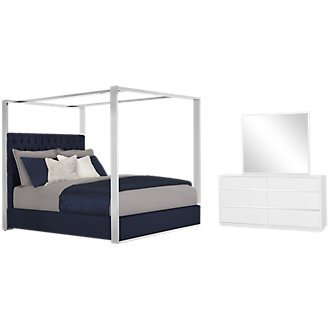 Neo Dark Blue Canopy Bedroom