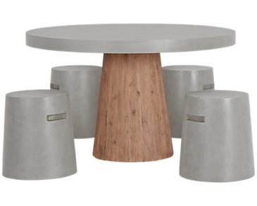 Sydney Concrete Round Table & 4 Chairs