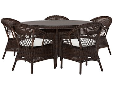 Cape White Round Table & 4 Chairs