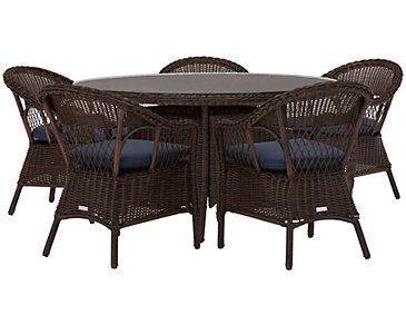 Cape Dark Blue Round Table & 4 Chairs