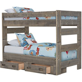 Cinnamon Gray Storage Bunk Bed