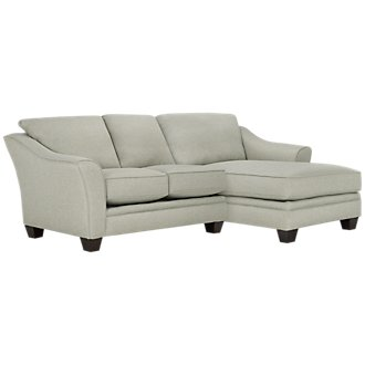 Avery Light Green Fabric Right Chaise Sectional