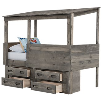 Cinnamon Gray Captains Bed