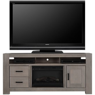 "Empire Light Tone 72"" TV Stand with Fireplace Insert"