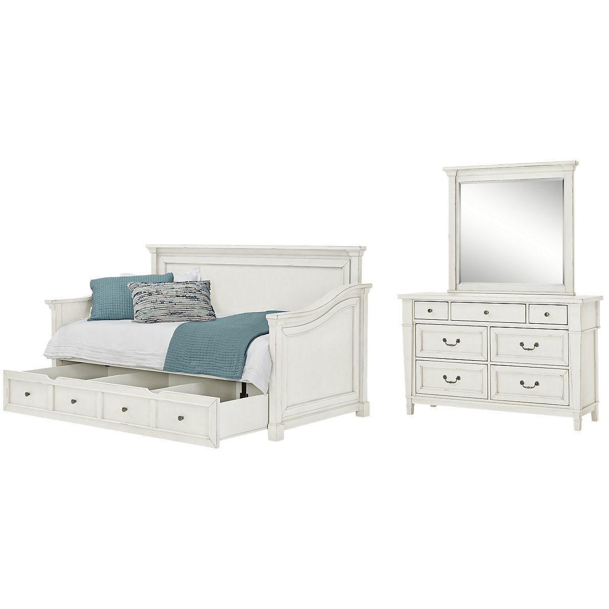 City furniture stoney white daybed storage bedroom for White bedroom set with storage