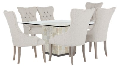 Image Of Trimbelle Stone Stone Table U0026 4 Upholstered Chairs With Sku:9712290