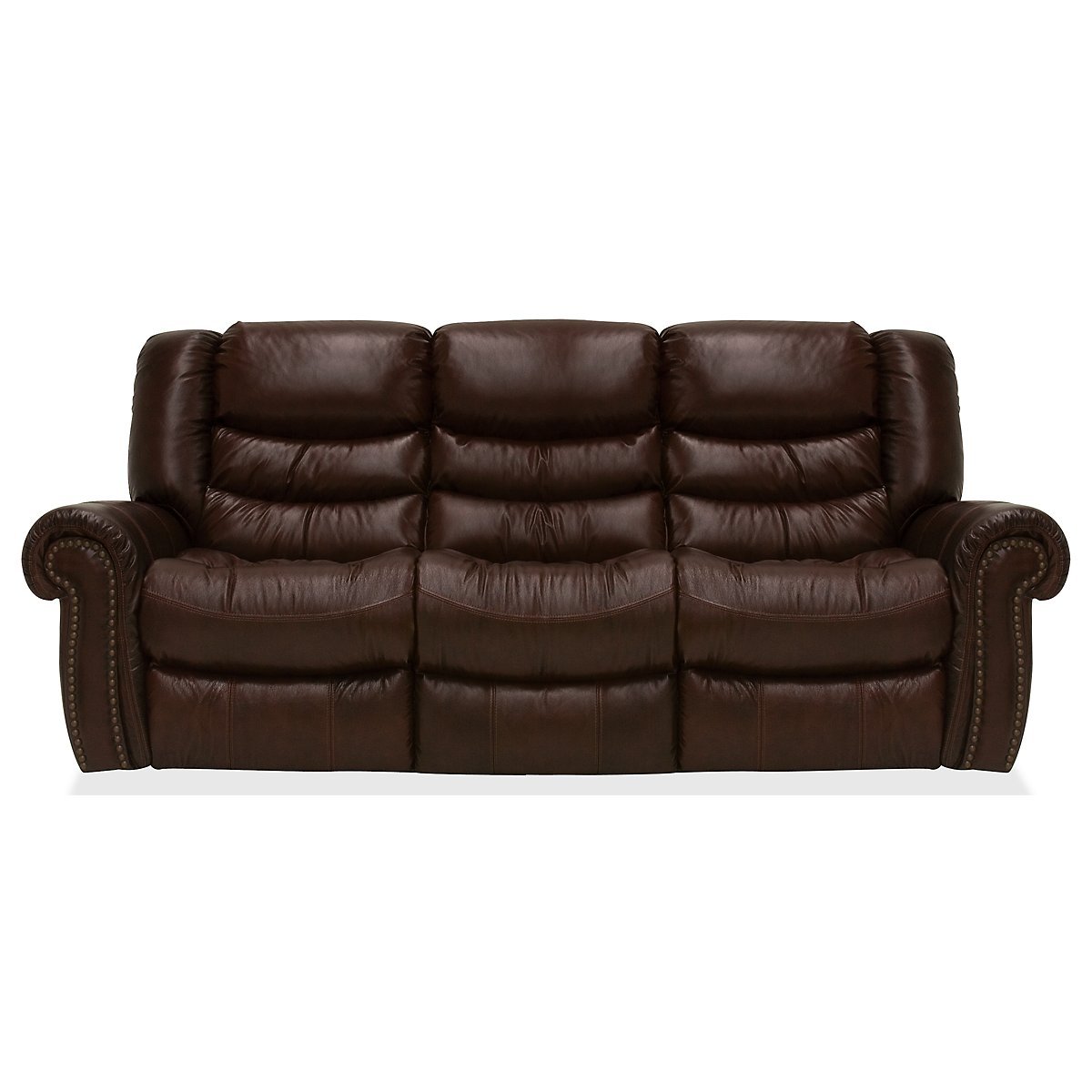 Peyton2 Dark Brown Leather & Vinyl Reclining Sofa
