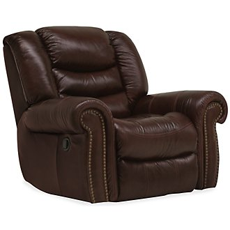 Peyton2 Dk Brown Leather & Vinyl Swivel Glider Recl