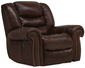 Peyton2 Dark Brown Leather & Vinyl Swivel Glider Recl