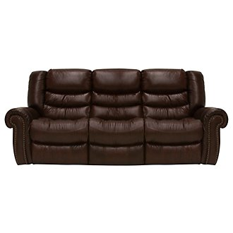 Peyton2 Dk Brown Leather & Vinyl Power Reclining Sofa