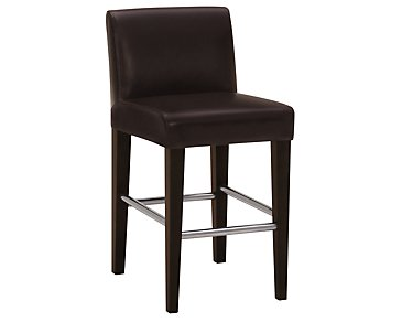 "Kyle Dark Brown Bonded Leather 24"" Upholstered Barstool"