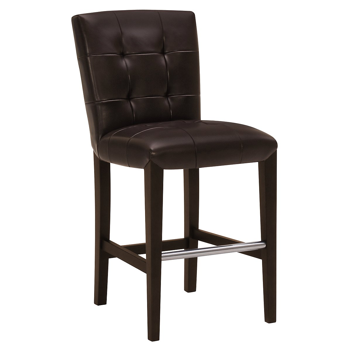 "Trisha Dark Brown Bonded Leather 24"" Upholstered Barstool"
