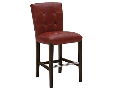 "Trisha Red Bonded Leather 24"" Upholstered Barstool"
