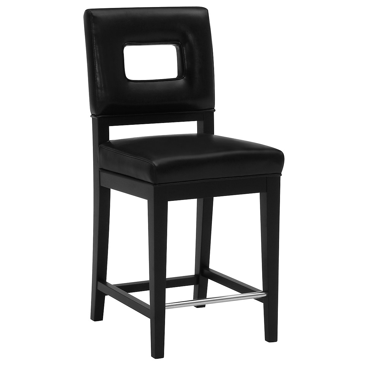 "Aspen Black 24"" Bonded Leather Barstool"