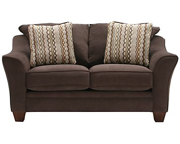 Grant2 Dark Brown Microfiber Loveseat