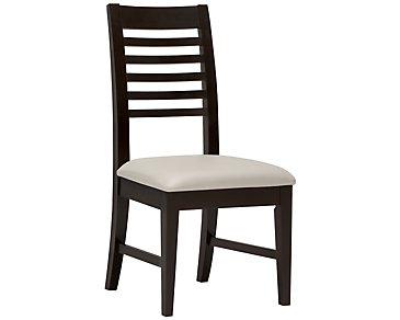 Encore2 Dark Tone Bonded Leather Slat Side Chair