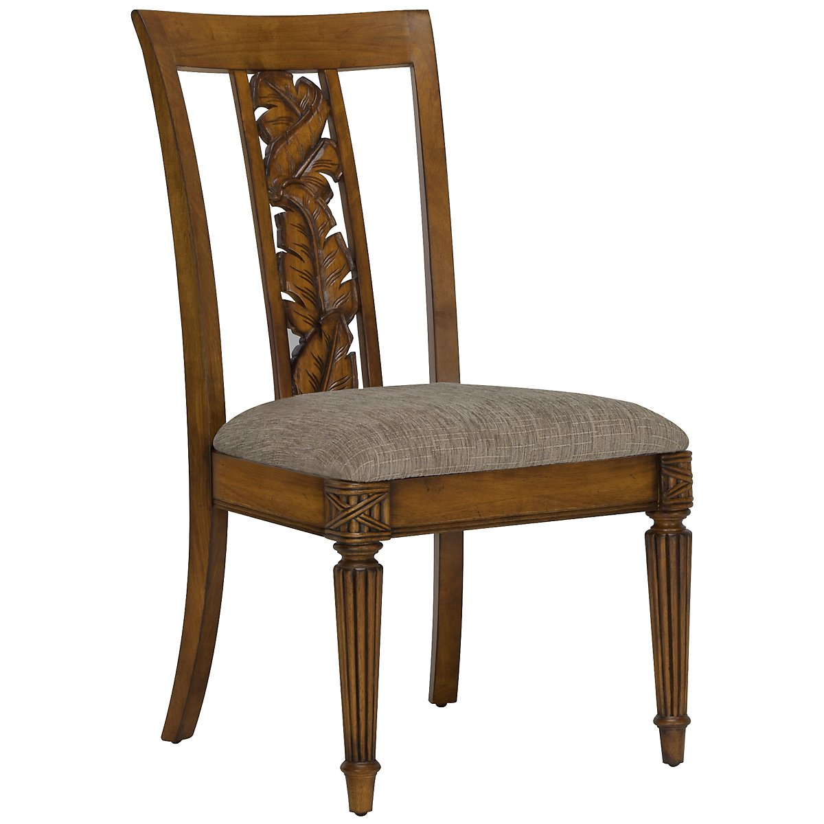 Palm Mid Tone Carved Side Chair