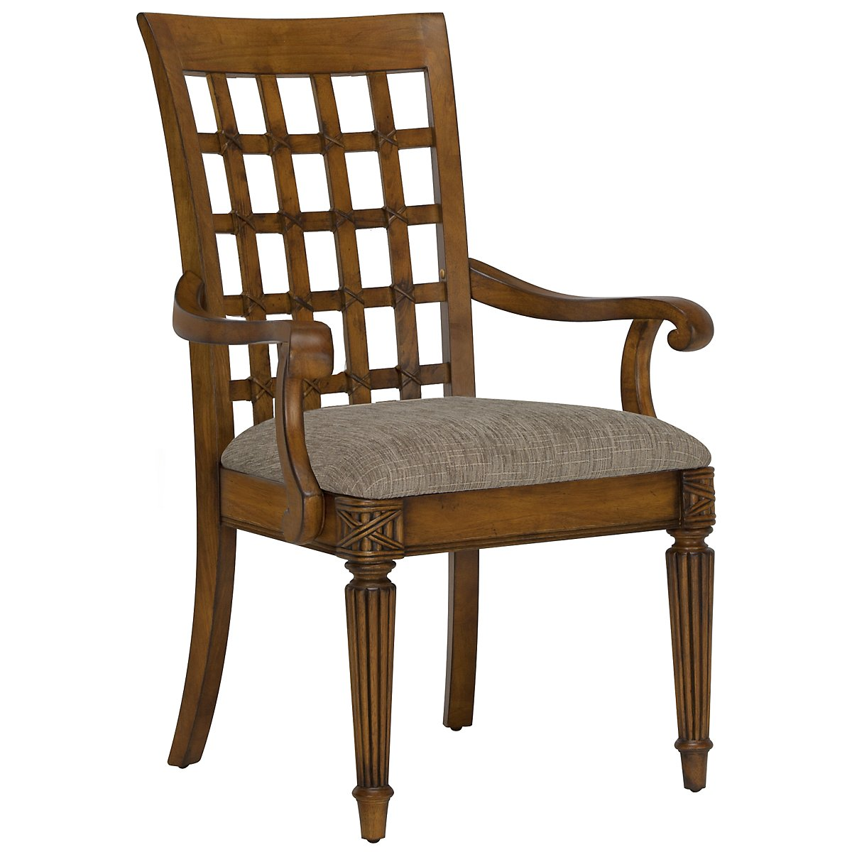 Palm Mid Tone Wood Arm Chair